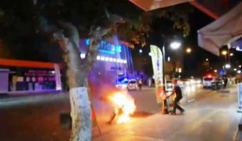 Adıyaman'da bir kişi motosikletini yaktı