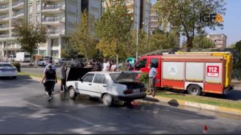 Adıyamanda seyir halindeki otomobil alev aldı