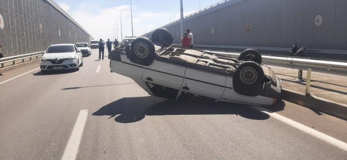 Adıyaman'da Kontrolden çıkan otomobil takla attı