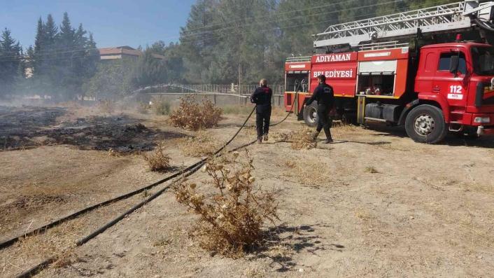 Otluk yangını çamlık alana sıçramadan söndürüldü