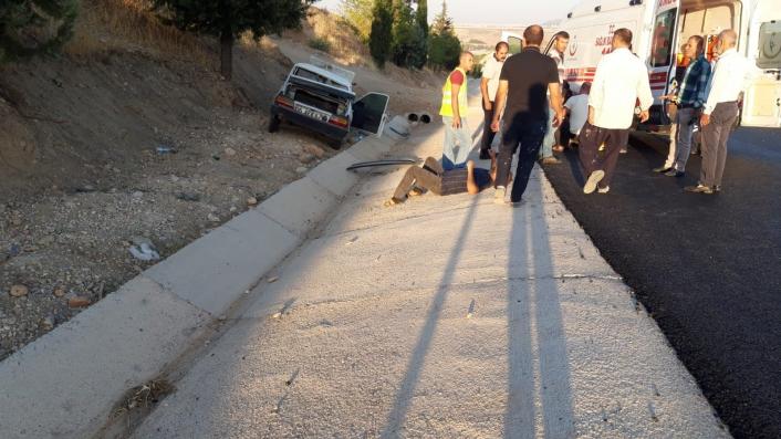 Adıyaman'da Otomobil şarampole devrildi 3 yaralı