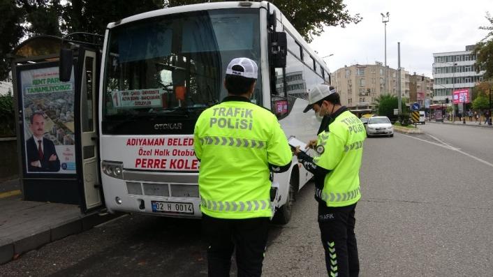 Adıyaman'da Toplu taşıma araçlarında korona denetimi